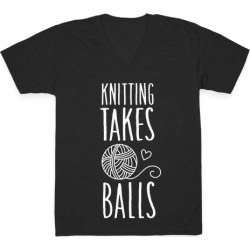 Knitting Takes Balls V-Neck T-Shirt from LookHUMAN found on Bargain Bro Philippines from LookHUMAN for $27.99