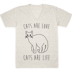 Cats Are Love Cats Are Life V-Neck T-Shirt from LookHUMAN