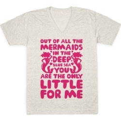 My Little Is The Only Mermaid For Me V-Neck T-Shirt from LookHUMAN