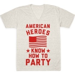 American Heroes Know How To Party V-Neck T-Shirt from LookHUMAN