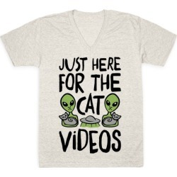 I'm Just Here For The Cat Videos V-Neck T-Shirt from LookHUMAN