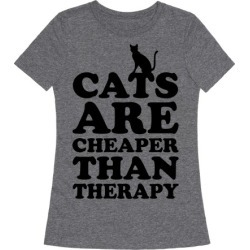 Cats Are Cheaper Than Therapy T-Shirt from LookHUMAN