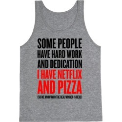 Netflix And Pizza Tank Top from LookHUMAN