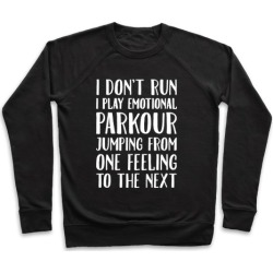 Emotional Parkour Funny Running Parody White Print Pullover from LookHUMAN