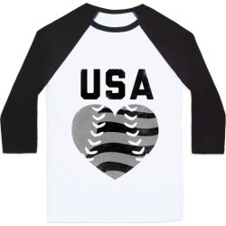 USA Baseball Love (Baseball Tee) Baseball Tee from LookHUMAN