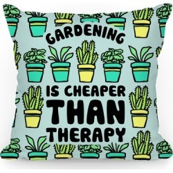 Gardening Is Cheaper Than Therapy Throw Pillow from LookHUMAN