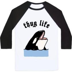 Thug Life Killer Whale Baseball Tee from LookHUMAN