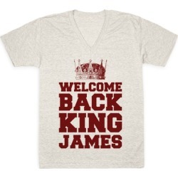 Welcome Back King James V-Neck T-Shirt from LookHUMAN found on Bargain Bro Philippines from LookHUMAN for $27.99