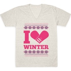 I Love Winter (Snowboard Heart) V-Neck T-Shirt from LookHUMAN