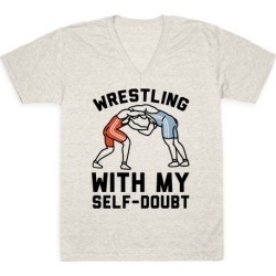 Wrestling With My Self-Doubt V-Neck T-Shirt from LookHUMAN
