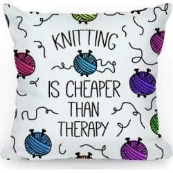Knitting Is Cheaper Than Therapy Throw Pillow from LookHUMAN