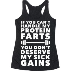 Protein Farts And Sick Gains Racerback Tank from LookHUMAN found on Bargain Bro Philippines from LookHUMAN for $25.99