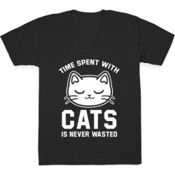 Time Spent With Cats V-Neck T-Shirt from LookHUMAN