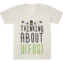 Thinking About UFOs V-Neck T-Shirt from LookHUMAN