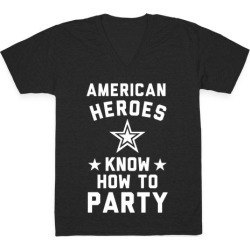 American Heroes Know How To Party (Army) V-Neck T-Shirt from LookHUMAN