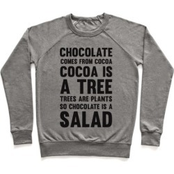 Chocolate Comes From Cocoa, Cocoa Is A Tree, Trees Are Plants, So Chocolate Is A Salad Pullover from LookHUMAN