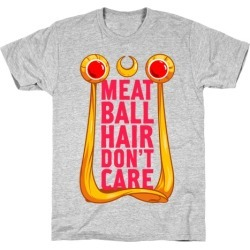 Meatball Hair Don't Care T-Shirt from LookHUMAN found on Bargain Bro Philippines from LookHUMAN for $21.99