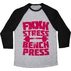 F*** Stress Bench Press (Censored) Baseball Tee from LookHUMAN