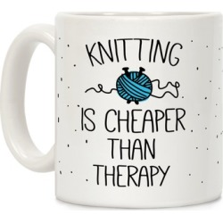 Knitting Is Cheaper Than Therapy Mug from LookHUMAN