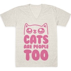 Cats Are People Too V-Neck T-Shirt from LookHUMAN