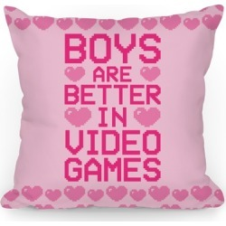 Boys Are Better In Video Games Throw Pillow from LookHUMAN