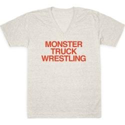 Monster Truck Wrestling V-Neck T-Shirt from LookHUMAN