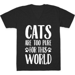 Cats Are Too Pure For This World V-Neck T-Shirt from LookHUMAN
