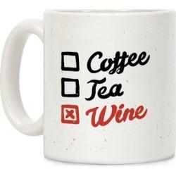 Coffee, Tea, And Wine Checklist Mug from LookHUMAN