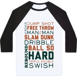Basketball Typographic (Green and Orange) Baseball Tee from LookHUMAN