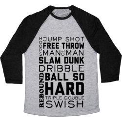 Basketball Typographic Baseball Tee from LookHUMAN