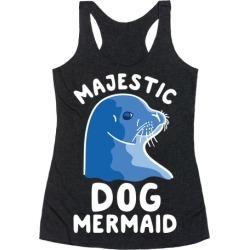 Majestic Dog Mermaid Racerback Tank from LookHUMAN