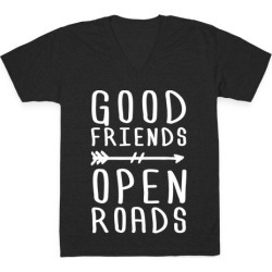 Good Friends Open Roads V-Neck T-Shirt from LookHUMAN