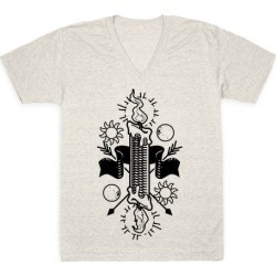 Burning the Candle at Both Ends V-Neck T-Shirt from LookHUMAN