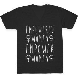 Empowered Women Empower Women White Print V-Neck T-Shirt from LookHUMAN