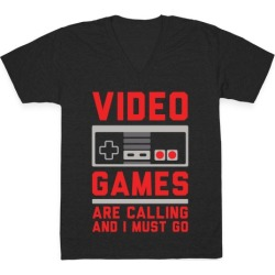 Video Games Are Calling V-Neck T-Shirt from LookHUMAN found on GamingScroll.com from LookHUMAN for $27.99