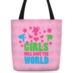 Girls Will Save the World Tote Tote Bag from LookHUMAN found on Bargain Bro Philippines from LookHUMAN for $27.99