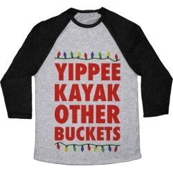 Yippee Kayak Other Buckets Christmas Baseball Tee from LookHUMAN