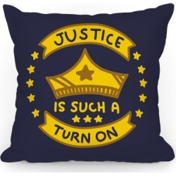Justice Is Such A Turn On (Blue) Throw Pillow from LookHUMAN found on Bargain Bro Philippines from LookHUMAN for $34.99