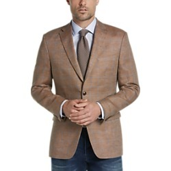 Tommy Hilfiger Brown Plaid Slim Fit Sport Coat