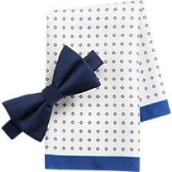 Tommy Hilfiger Blue Ribbed Pre-Tied Bow Tie & Diamond Dot Pocket Square