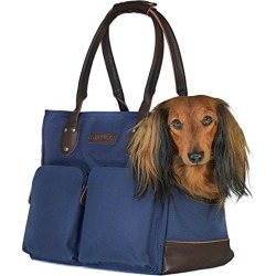 DJANGO Dog Carry Bag - Waxed Canvas and Leather Soft-Sided Pet Travel Tote with Bag-to-Harness Safety Tether & Secure Zipper Pockets (Medium, Navy Blue) found on Bargain Bro from  for $165