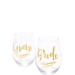 Slant Collections Bride & Groom Wine Glass Set found on Bargain Bro India from shopbop for $22.00