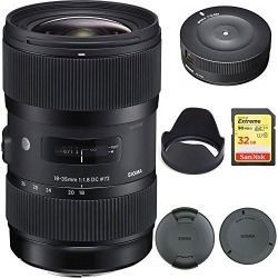 Sigma AF 18-35mm f/1.8 DC HSM Lens for Canon (210101) with Sigma USB Dock for Canon Lens and SanDisk Extreme 32GB SD Memory UHS-I Card w/ 90/60MB/s Read/Write found on Bargain Bro from  for $