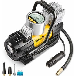 AstroAI Portable Air Compressor Pump, Digital Tire Inflator 12V DC Electric Gauge with Larger Air Flow 35L/Min, LED Light, Overheat Protection, Extra Nozzle Adaptors and Fuse, Yellow found on Bargain Bro from  for $34.99