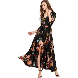 Milumia Women's Button Up Split Floral Print Flowy Party Maxi Dress (Medium, Black-Yellow)