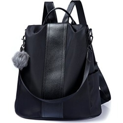 Women Backpack Purse Waterproof Nylon Anti-theft Rucksack Lightweight Shoulder Bag (Black) found on Bargain Bro from  for $29.99
