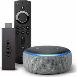 Fire TV Stick bundle with Echo Dot (3rd Gen) - Heather Gray found on Bargain Bro from  for $69.98