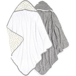 Burt's Bees Baby - Hooded Towels, Absorbent Knit Terry, Super Soft Single Ply, 100% Organic Cotton (Honey Bee/Grey, 2-Pack) found on Bargain Bro from  for $24.99