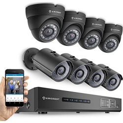 Amcrest ProHD 720P 8CH Video Security System - Eight 1.0-Megapixel (1280TVL) Outdoor IP67 Bullet & Dome Cameras, 2TB HDD, Night Vision, Remote Smartphone Access, Black Mid (AMDV7208M-4B4D-B) found on Bargain Bro from  for $549.99