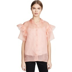 Anais Jourden Organza Shirt with Ruffled Short Sleeves found on MODAPINS from shopbop for USD $197.50